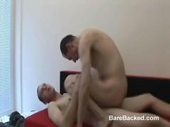 Unloading hot creamy sperm in his small asshole