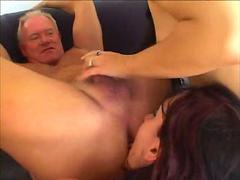 Teens sharing one cock of an old gentlemen