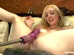 Tied up blonde machine fucked until squirts