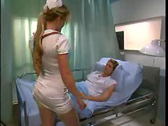 Babe Nurse in stockings seduce Patient when Doctor is outdoor