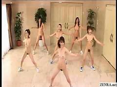 Japanese girls go nudist and workout with aerobics in the buff clip
