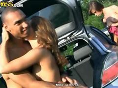 Nasty nudist teen babes show off after an outdoor orgy