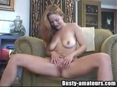 Busty chick Gabriella fingering her pussy