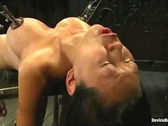 Bound in metal device babe flogged and nipples pulled