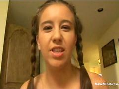 Sweet Young Pigtailed chick Handjob