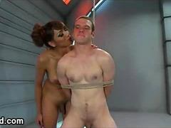 Huge dick tranny fucks and canes bound guy