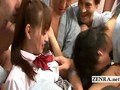 Schoolgirl uniformed Japan AV star initiates gangbang
