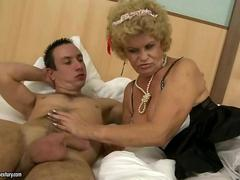 Horny old maid fucking with a dude hardcore