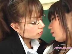 2 Teachers Kissing One Of Them Getting Her Pussy Rubbed In The Classroo