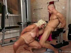 Ugly granny gets fucked in the gym
