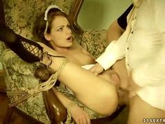 Sexy maid gets fucked by her old lord