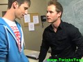 Teen twink and teacher make out and get naked in class