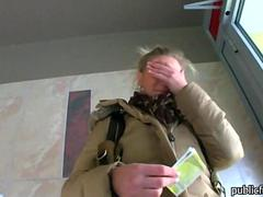 Big tits blonde takes money and gets nailed by a big cock