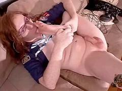 Ginger Redhead Shemale Juliette Jerks on her Feet