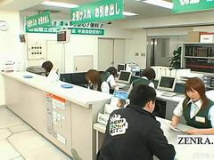 Subtitled busty Japanese post office reception handjob