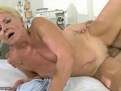 Granny gets fucked hard by her doctor on the bed