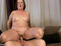 Ugly fat granny gets fucked rough by a mafioso dude