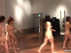 Group of hot Japanese girls fully naked
