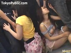 Two Nice Tits Japanese Girls On The Train - Public Sex