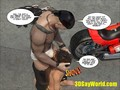 Pleasing of Gay Biker 3D Male Cartoon Anime Comics Story or Gay Hentai BDSM Outdoor