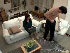 Nasty asian milf gets horny when