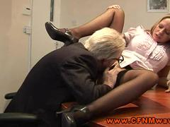 CFNM FEMDOM office babe demands oral from the old dude