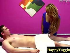 Blonde Asian babe gives a very sensual massage