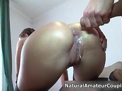 Hot brunette babe gets her ass creamed