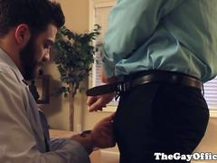 Muscular office hunks sucking hard cock