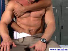 Hot jocks in cop uniform sucking