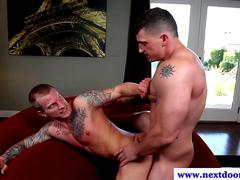 Tattooed muscle pounding tight butt
