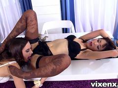vixenx Sexy lesbians in lingerie and stockings