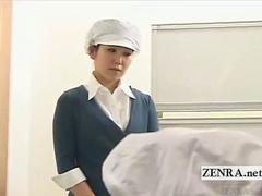 Subtitled CFNM Japan condom laboratory handjob research