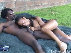 Ebony Marie Luv gets fucked by a BBC outside
