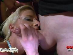 Sexy Lucie knows hows to handle all those cocks in her mouth