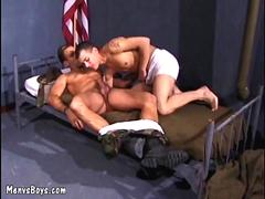 Young soldier blows his commanding officer