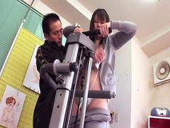 Delicious Japanese slut getting her muff toyed after working out and before getting pounded
