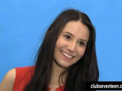 Brunette teen Vanessa posing at the casting