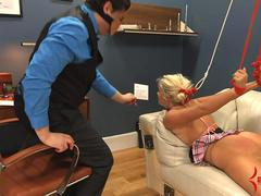 Big ass cheerleader Layla Price gets hard anal and ass to mouth therapy at insane asylum