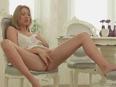 Hot beautiful blonde masturbating