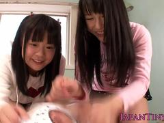 Japanese cocksucking babes in trio