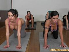 Spandex yoga milfs and their flashing teacher