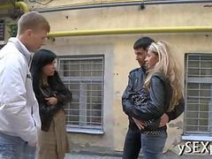 Divine blonde starts off a foursome