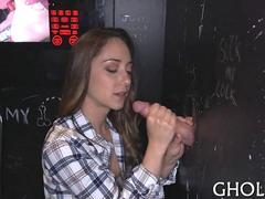 Yummy chick waits for a gloryhole surprise
