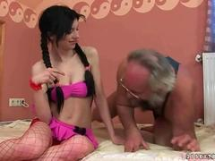 she is a sweet brunette fucking the wild old man