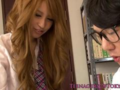 Cockhungry japanese teen sucks and fucks