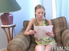 Pigtails teenie fucked out of her green dress