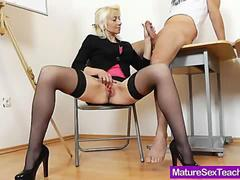 mature blonde has a teacher to fuck