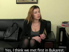Casting brunette from Bulgaria shows off her big tits for her agent