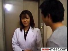 Asian office lady sucking dick in pantyhose and black panties
